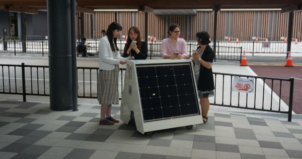 奈良公園バスターミナルに試験導入された移動可能型ソーラー充電スタンド<LN-CB1AA>