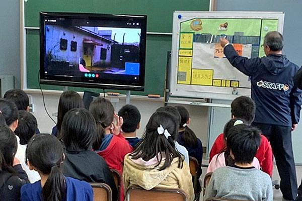 千葉市動物公園スタッフで教育コーディネーターの鵜沢さんより、厩舎の全体像などを紹介