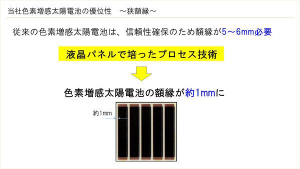 当社色素増感太陽電池の優位性 ~狭額縁~