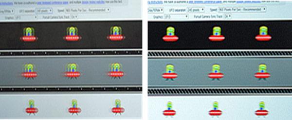 左が60Hzで右が240Hz駆動 (黄緑と赤の物体が左右に移動する画面では、右の高速駆動がよりなめらかに見えます。)