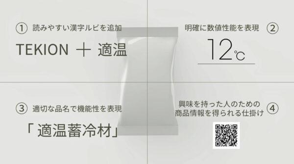 12℃「適温蓄冷材」のパッケージデザイン 4つの改善内容
