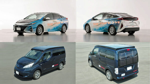 当社の世界最高水準の高効率太陽電池を用いた実証車 (上:トヨタ自動車「プリウスPHV実証車」、下:日産自動車「e-NV200」)
