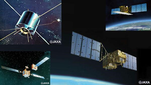 当社宇宙用太陽電池搭載の人工衛星 <JAXA提供> 左上:実用衛星「うめ」(1976年) 右上:陸域観測技術衛星2号「だいち2号」(2014年)、 左下:技術試験衛星Ⅶ型「きく7号」(1997年) 右下:温室効果ガス観測技術衛星「いぶき」(2009年)