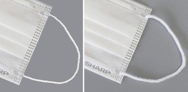 耳ひも(左:従来 右:新たに開発したやわらか耳ひも)