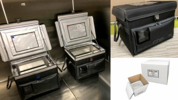 もうすぐ商品化予定の輸送容器セット(右下は海外輸送BOX)